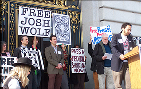 Supporters rally for Josh Wolf's release from prison